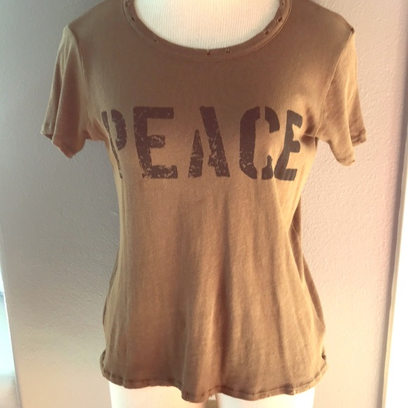 7de2683d Chaser Tops | Army Green Peace T Shirt Distressed | Poshmark